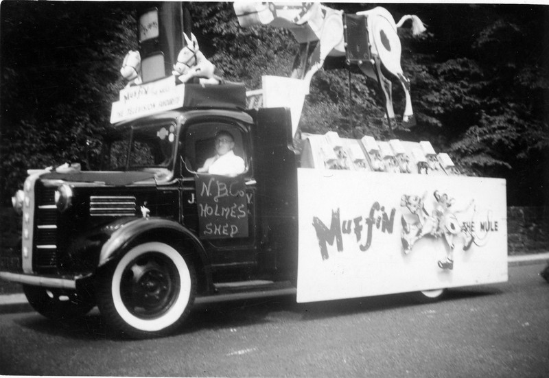 Newchurch Boot Muffun the Mule float Coronation 1953 designed by Bob Kerr Jimmy Dugdale Driver