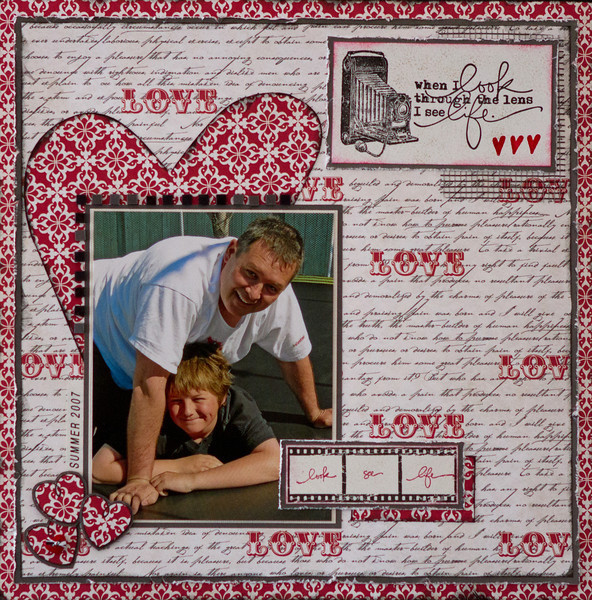 "all paper-Echo Park ""Truly yours"" / inks-Prima ""Black Coal"" - Versafine ""Onyx Black"" - Stampin Up ""Real red"" / stamps: Technique Tuesday [AE] & Stampin Up / Harmonie Mosaic Tiles / Brother P-touch labeller"