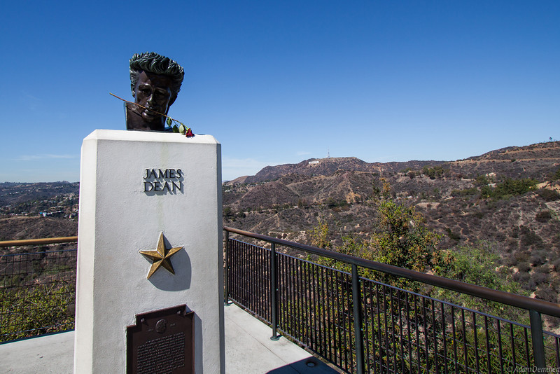 James Dean looking across to the Hollywood sign