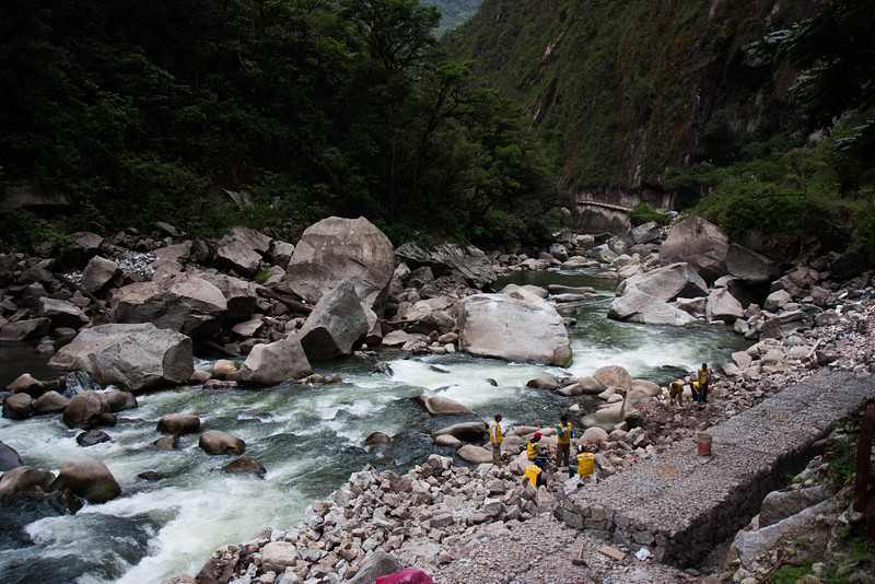 The river that runs past Aguas Calientes, most of the flow is diverted into a hydro electric power station. Here you can see where workers are breaking up rocks!