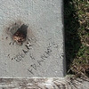 When my parents built their house, they engraved their name in the cement. And then a nutria took a dump on it.