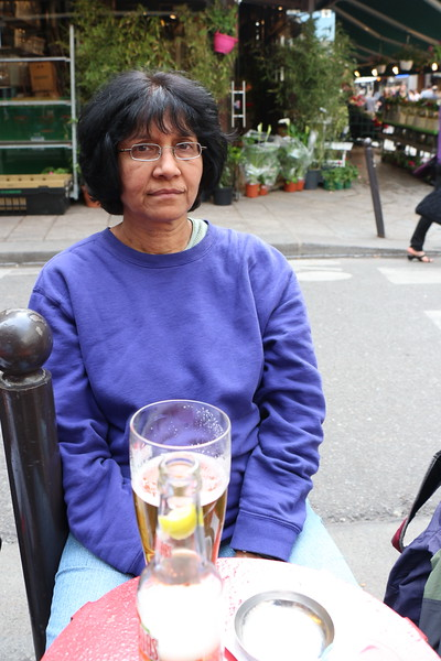 Paris 2013 - Quartier Latin - Enjoying the Cafes - Veena with a Beer (V)