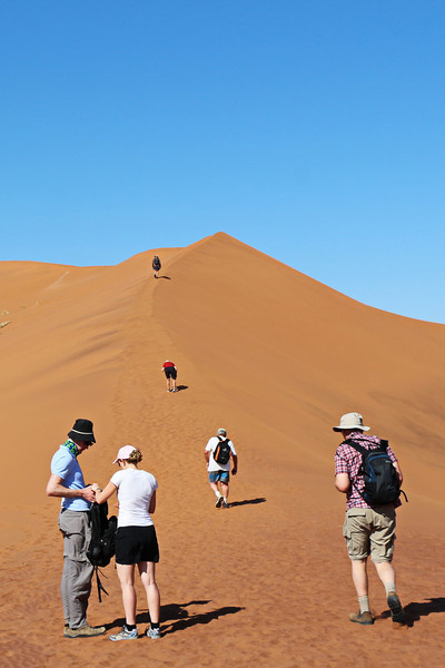 Sossusvlei - Morning Dune Walk - Starting Climb Up Dune Ridge