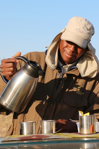 Chobe - Morning Game Drive - Guide Serving Up Morning Coffee and Tea