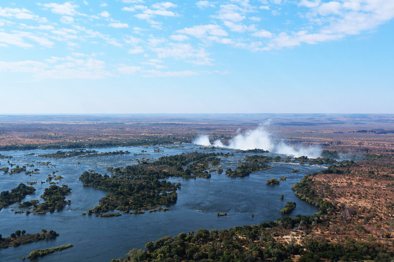 Victoria Falls - Helicopter Tour - Zambezi River Looking Towards the Falls
