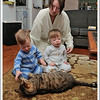 """""""Be nice to the cat, please""""  He is amazingly patient and tolerant of the twins."""