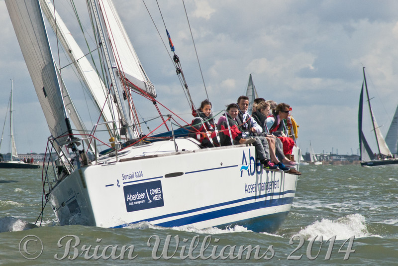 """Sunsail 4004N"" ""The Shuttet shop Ltd."" racing at Cowes Week 2014"