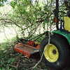 Backing in with Mower to Cut the Vines