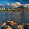 Central and West Hong Kong at sunset time