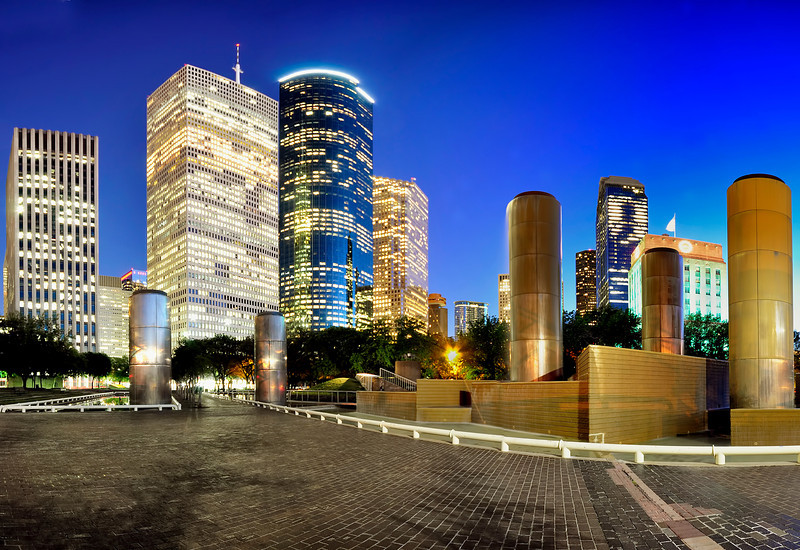 Panoramic view of Downtown Houston at night from Tranquility Park