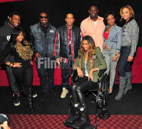 Memphis, Toya Wright, Devyne Stephens, Ludacris, Ciara, Diamond and Demetria McKinney attend the 2011 Roll Over Hunger Charity and Skate Jam at the Cascade Family Skating Rink on November 23, 2011 in Atlanta, GA.