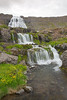A triple waterfall, three of the seven at the waterfall series called Dynjandi. Taken in the Westfjords, Iceland.