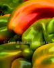 Colorful red and green bell peppers at the Saturday Market in downtown Boise, Idaho.