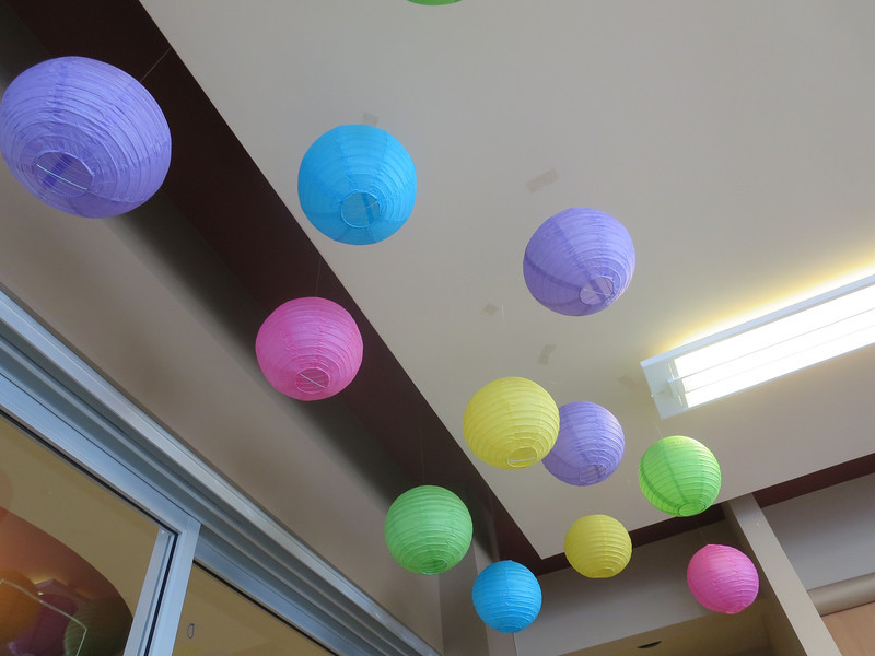 Hanging lantern decorations for IDY's EPL Day Celebration on 13/03/14