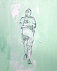 """""""Man Walking with Laptop and Iced Beverage in Plastic Cup""""<br />  (monoprint from original drawing and photograph, and acrylic on canvas board)"""