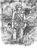 """Vietnam Self Portrait<br /> <br />                                                                                                                           RETURN FROM PATROL<br /> <br /> """"Return From Patrol"""" is part of the Wiley Studio Patriot Series and is the first work  featured in """"As You Were"""" - an ongoing collection of illustrations drawn from authentic field photographs brought back by the 11th Armored Cavalry Regiment Soldier's.<br /> <br /> """"Return From Patrol"""" is an etched graphite illustration that portrays Sgt. Scott E. Wiley; a gunner on Sheridan 27 - G Troop 2/11, at age 20 just after returning from a foot recon patrol west of the Iron Triangle somewhere near the Cambodian border in the Fall of 1971.  One primary photograph and several support photographs and visual files were used to build the detailed scene.  Accurate realism and a large familiar inventory were included to """"make 11th ACR Vet's memories come alive"""".  <br /> <br /> Time Of Execution:  71 Hours (Interestingly, the same year I was there.)<br /> Technique / Media:  Etched Rendered Graphite<br /> Size:  11"""" x 14""""<br /> <br /> Look Close:<br /> Military Inventory in """"Return From Patrol"""":<br /> <br /> Sheridan with 152mm main gun and Ma Deuce faced at different azimuths, linked fence RPG screen and 2 engineer stakes, spare road wheel, sledge hammer, tanker's bar, heavy tow chain links, channel locks, screwdriver, 2 rolls of concertina wire, shoe laces, 2 ACVs in background with poncho's suspended overhead, ACV .50s and Pigs (M-60s) with gun shields, 6 boxes of .50 / 7.62 ammo, two butt-taped pairs of 16 magazines, PRC-77-25 radio with cable, headset and antennae,1 x 16 bandolier of magazines, 4 frag grenades,<br /> Claymore with """"Front Toward Enemy"""" visible, clacker, det cord, utility belt and harness, machete, bayonet, 3 steel pots, para cord, dog tags in boot laces, 2 canteens, 3 bottles of mosquito repellent, first aid kit, booney hat with hand-drawn cross, 11th ACR patch, peaches, poun"""