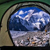 Tent view of K2 from Broad Peak Base Camp, Karakoram Range, Baltistan, Pakistan