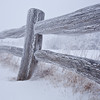 Fence post in blizzard