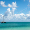 Beautiful Sunny Seascape with Anchored Yacht and Blue Sky