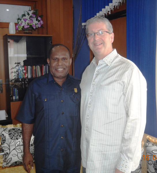 Yunus Wonda, acting speaker of the local Papuan Parliament with NZ Amb. David Taylor during a visit to Jayapura in 2013
