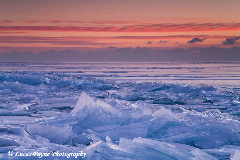 Broken shards of ice at sunrise along the North Shore of Lake Superior near Duluth, Minnesota  February 13, 2008