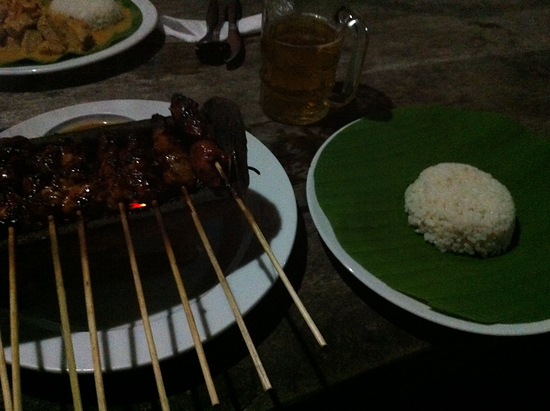 Sate Ayam (Chicken Satay) and rice with beer. The perfect Indonesian meal