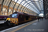67019 stands at Kings Cross with the stock for the White Rose Railtour to York. Sat 12.04.14