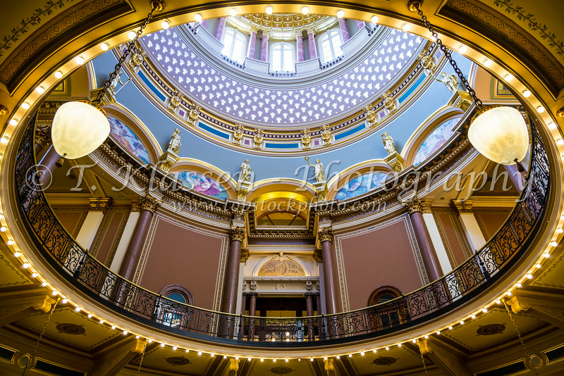 Ornate interior architcture of the State Capital building in Des Moines, Iowa, USA.