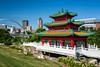 The Chinese Cultural Center of America pagoda and downtown skyline of Des Moines, Iowa, USA.
