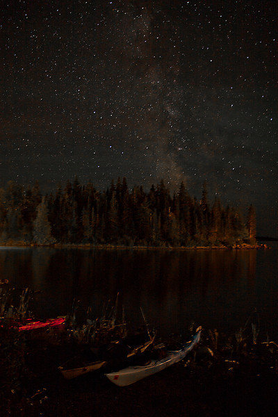 Milky Way over Beached Kayaks