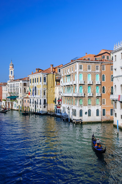 The Grand Canal of Venice, Italy with Venetian architecture, boats and gondolas.