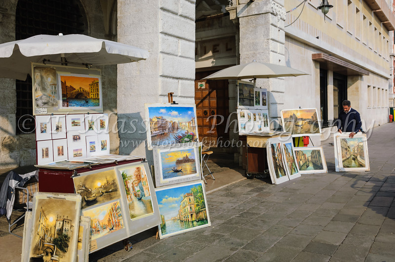 A shop selling paintings on the waterfront in Venice, Itlay, Europe.