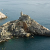 The 13th century gothic church of San Pietro, on a rocky promentory of the Ligurian coast, Portovenere, Italy