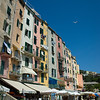 Shops along the main square of the picturesque town of Portovenere, on the Ligurian coast of Italy