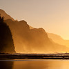 Misty sunset on Na Pali coastline