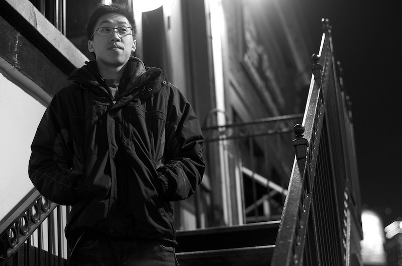 Boston, Mass, March 7,2012; a night photography picture of Edwin Tsang. Photo by Brian Chin ©2012