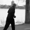 A man running along the Charles River Esplanade on March 5, 2014. Photo by Pip Stevens.