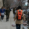 Girl with backpack, Orange Color Test, Boston, 4/4/14, JO303, Mary Bell