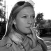Boston University student Meredith Proulx smokes a cigarette on the corner of Comm Ave and Harry Agganis Way. Fill flash.