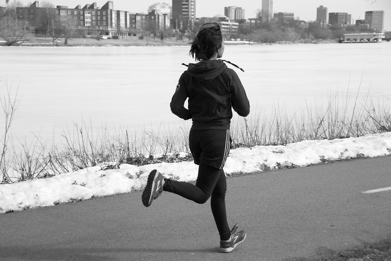 JO305 Assignment 3: A runner on a morning jog by the Charles River Esplanade, February 27, 2014.  Photo by: Dhiren Garg