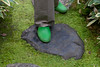 We finally found the secret to being able to walk through the inner garden grounds: don the rubber slippers!