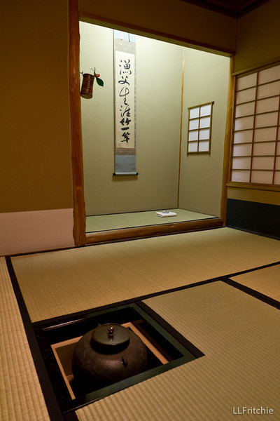 During the ceremony, we sat comfortably on benches. Afterwards, she invited us to crawl into this traditional tea room, notable for its use of 6 tatami matts. She said it was a cultural treasure.