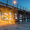 Steelwool spinning under the Jetty at Coffs Harbour (NSW, Australia)