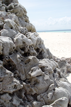 Rock formations on the beach.