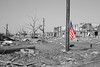 "US Flag after Joplin Tornado (B/W) ""War Zone"""