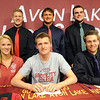 Emily Krause, front left, Seth Muck, David Winkel, back left, Tyler Nock, Wyatt Ohm and Logan Montague signed letters of intent at Avon Lake High on April 16. STEVE MANHEIM/CHRONICLE