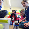 "Second-graders Zak Jockel, left, Cameron Slepko, Samantha Kuhn and Angelina Taylor do an experiment to demonstrate the laws of motion during the ""Forces and Motion"" program at Ely Elementary on April 8. STEVE MANHEIM/CHRONICLE"