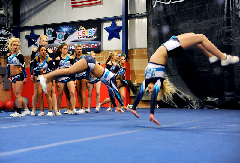 Ohio Extreme Intensity performs during a send-off party at Tumbles and Cheers in Avon Wednesday. KRISTIN BAUER / CHRONICLE
