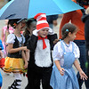 McKinley Elementary students walk in the school's annual Halloween Costume Neighborhood march with the Elyria High School marching band on Thursday. STEVE MANHEIM/CHRONICLE