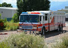 Colorado Springs Fire Department's Heavy Rescue 17 arriving on scene with Cimarron Hills FD on a working commercial building fire in El Paso County, Colorado. August 7, 2014